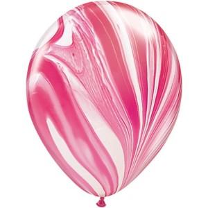 Латексный шар 11″ (28 см.) Супер Агат Красно-Белый (1шт.)