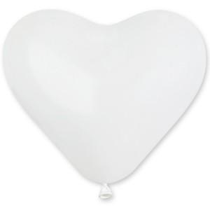 Латексный шар сердце 10″ (25 см.) Пастель Белый #01 (Gemar) (100 шт.)