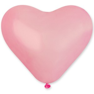 Латексный шар сердце 10″ (25 см.) Пастель Розовое #57 (Gemar) (100 шт.)