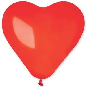 Латексный шар сердце 17″ (43 см.) Пастель Красное #42 (Gemar) (50 шт.)