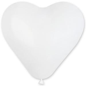 Латексный шар сердце 17″ (43 см.) Пастель Белое (Gemar) (50 шт.)