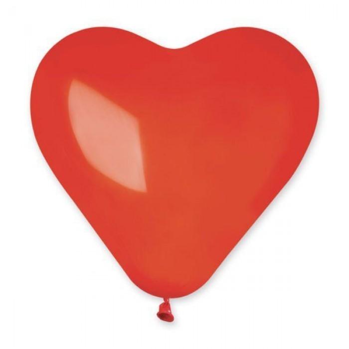 Латексный шар сердце 10″ (25 см.) Пастель Ярко-Красное #45 (Gemar) (100 шт.)
