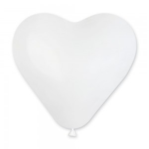 Латексный шар сердце 6″ (15 см.) Пастель Белый #01 (Gemar) (100 шт.)