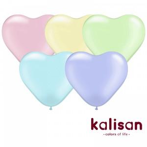 Латексный шар сердце 12″ (30 см.) MACARON Ассорти (100 шт.) Kalisan