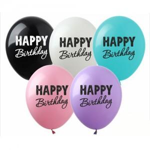 "Шар с рис. 12"" (30 см) Happy Birthday (черная краска) (Show) (25 шт.)"
