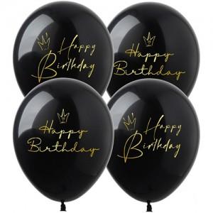 """Шар с рис. 12"""" (30 см) Happy Birthday """"Короны"""" (на черном) (Show) (100 шт.)"""