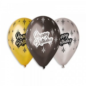 """Шар с рис. 12"""" (30 см) Happy Birthday (Gemar) (25 шт.)"""
