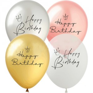 """Шар с рис. 12"""" (30 см) Happy Birthday """"Короны"""" Металл (Show) (100 шт.)"""