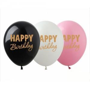 """Шар с рис. 12"""" (30 см) Happy Birthday (золотая краска) (Show) (100 шт.)"""