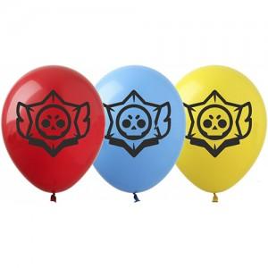"Шар с рис. 12"" (30 см) Brawl Stars / Бравл Старс Логотип (3 цвета) (Show) (100 шт.)"